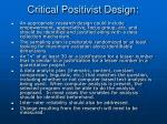 critical positivist design