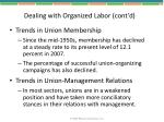 dealing with organized labor cont d
