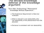 the deviant knowledge defense of the knowledge argument