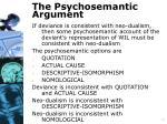 the psychosemantic argument