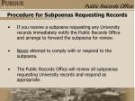 procedure for subpoenas requesting records