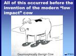 all of this occurred before the invention of the modern low impact cow