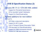 dvb si specification status 2