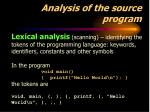 analysis of the source program