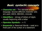 basic syntactic concepts