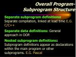 overall program subprogram structure