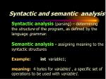 syntactic and semantic analysis