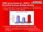 jmmb group results q1 2008 9 diversified business strategy working