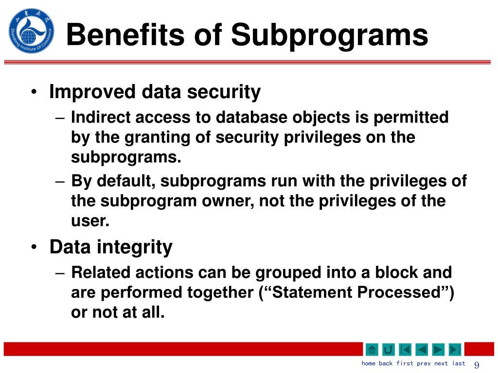 Benefits of Subprograms