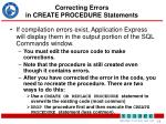 correcting errors in create procedure statements
