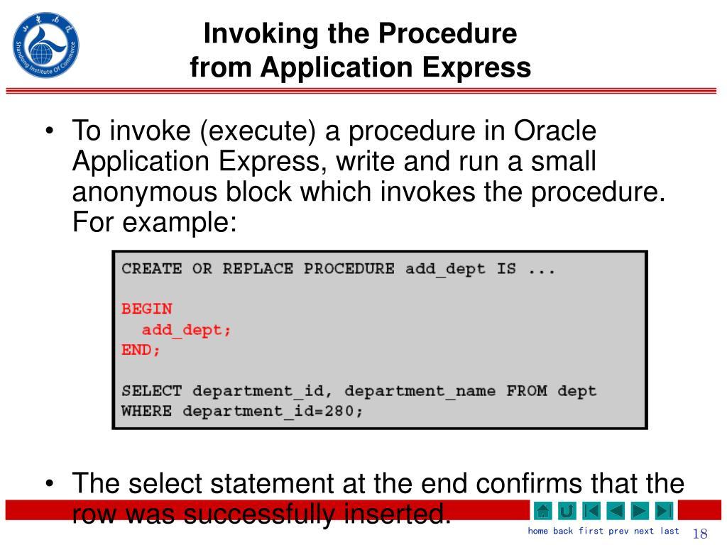 Invoking the Procedure
