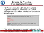 invoking the procedure from application express