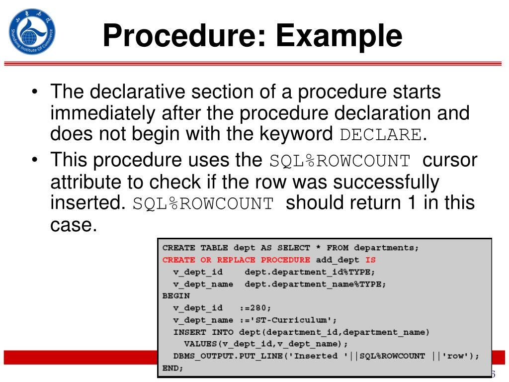 Procedure: Example