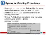 syntax for creating procedures14