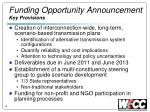 funding opportunity announcement key provisions