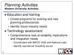 planning activities western university activities