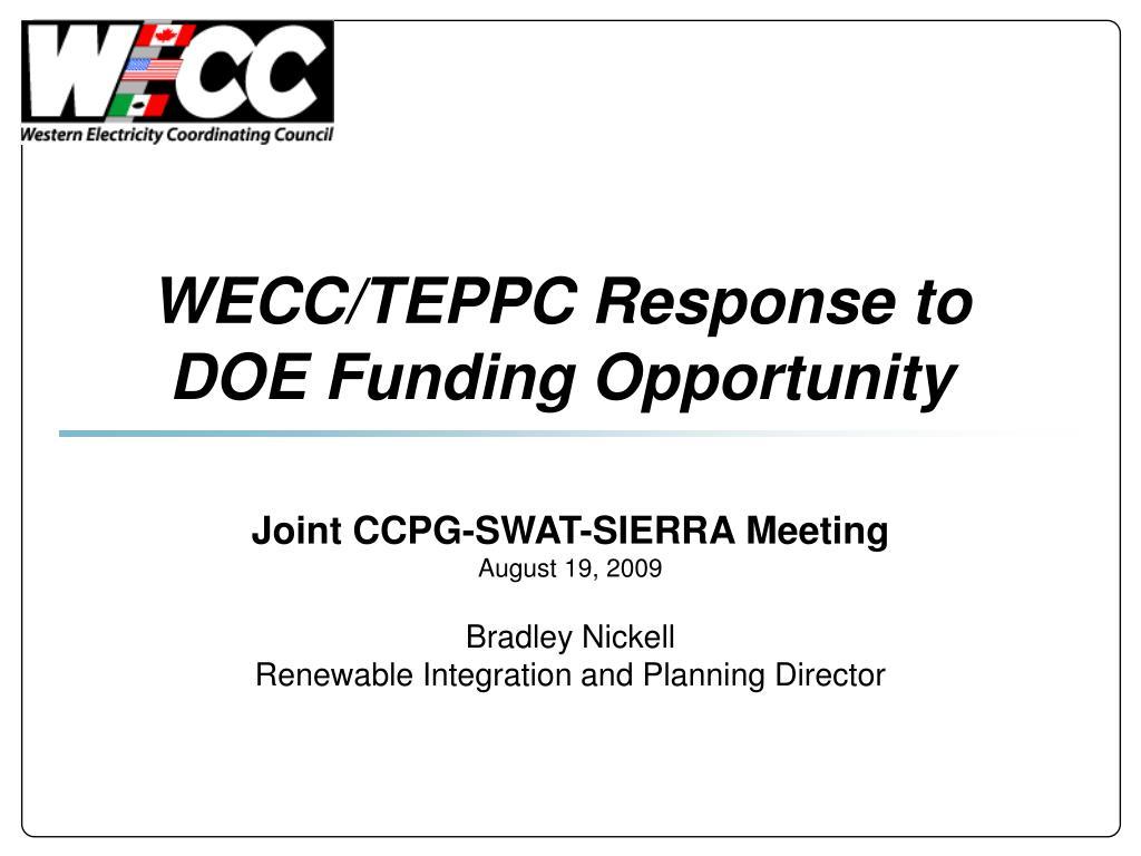 wecc teppc response to doe funding opportunity l.