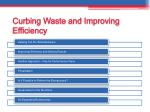 curbing waste and improving efficiency