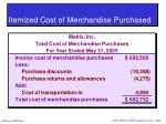 itemized cost of merchandise purchased
