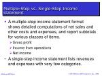 multiple step vs single step income statement