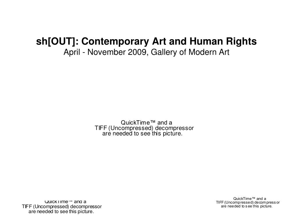 sh out contemporary art and human rights april november 2009 gallery of modern art l.