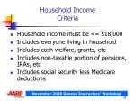 household income criteria