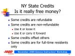 ny state credits is it really free money