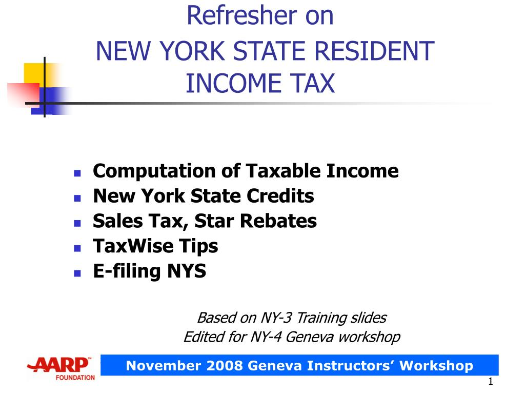 refresher on new york state resident income tax l.