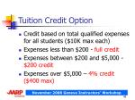 tuition credit option