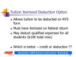 tuition itemized deduction option