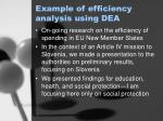 example of efficiency analysis using dea