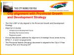 city alignment with provincial growth and development strategy
