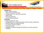 institutional context of the city of cape town