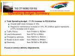 operating budget summary