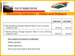 revenue collection rates and debtors