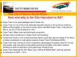 the city s place in south africa how and why is the city important to sa