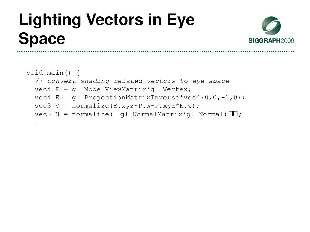 Lighting Vectors in Eye Space