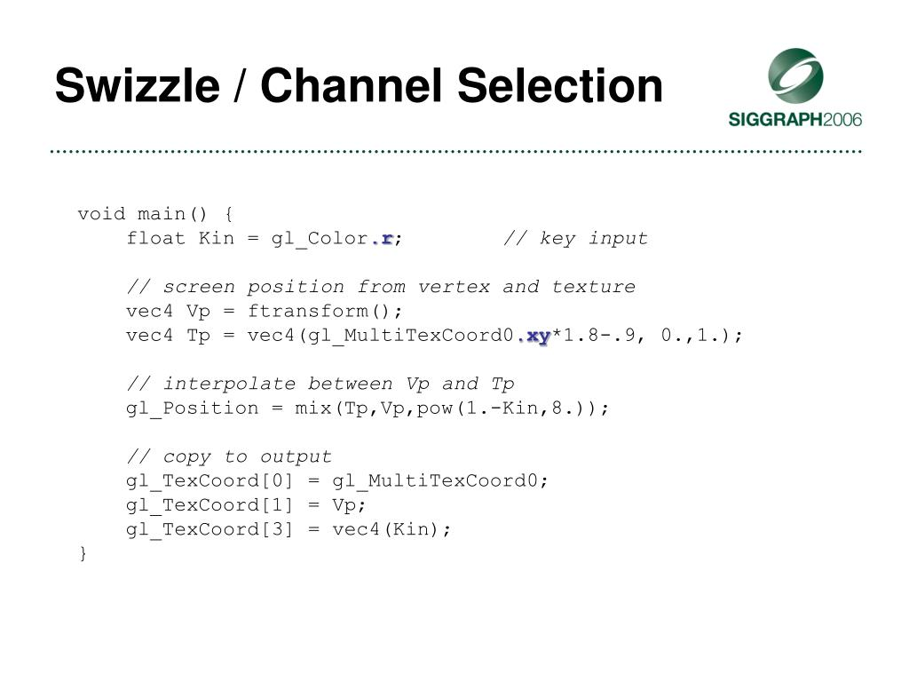 Swizzle / Channel Selection