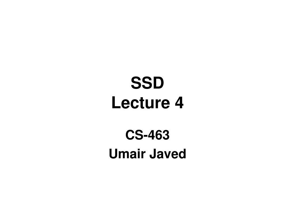 ssd lecture 4 l.
