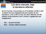 les dons manuels legs et donations affect s