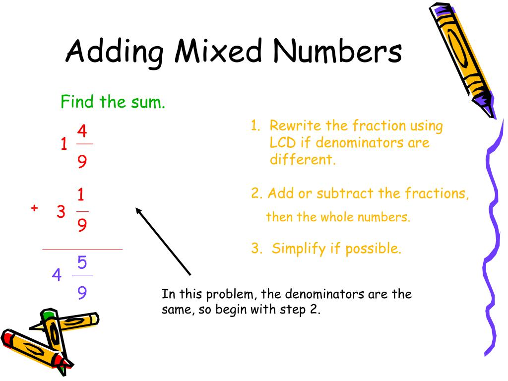 PPT - 6.4 Adding and Subtracting Mixed Numbers PowerPoint ...