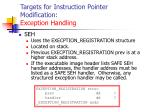 targets for instruction pointer modification exception handling125