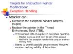 targets for instruction pointer modification exception handling127