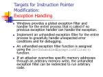 targets for instruction pointer modification exception handling128