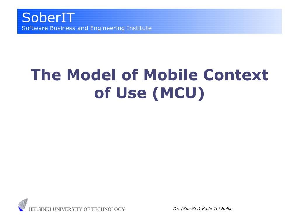the model of mobile context of use mcu l.