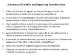 summary of scientific and regulatory considerations
