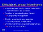 difficult s du secteur microfinance