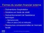 formes du soutien financier externe