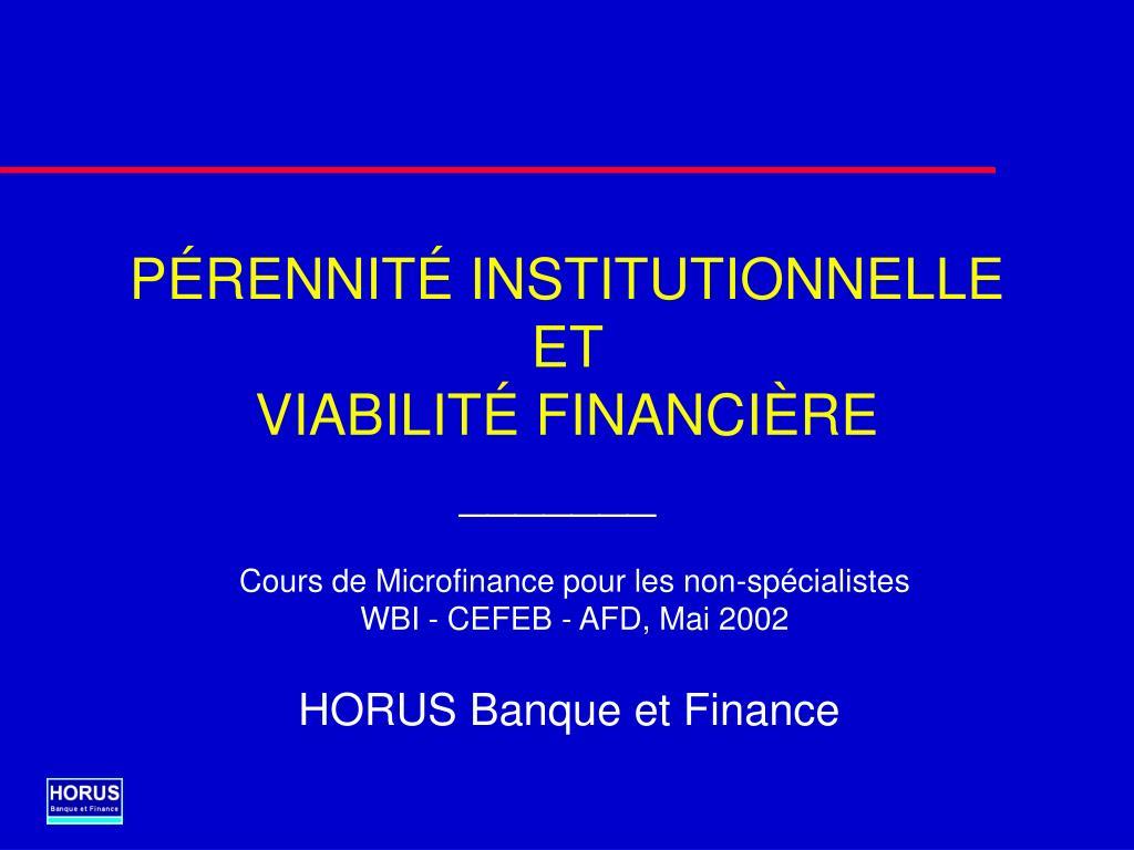 p rennit institutionnelle et viabilit financi re l.