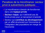 paradoxe de la microfinance secteur priv subventions publiques